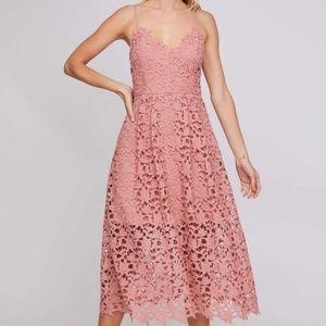 ASTR the Label Lace Midi Dress in Blush Size S